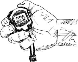 Sketch Of Male Hand Holding A Stopwatch. Vector Illustration