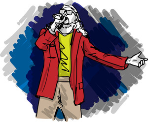 Sketch Of Man Singing Into A Microphone. Vector Illustration