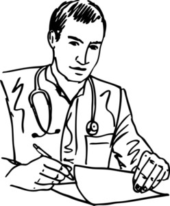 Sketch Of Medical Doctor With Stethoscope Sitting At A Desk In His Office And Writing Recipe. Vector Illustration