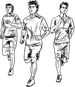 Sketch Of Men Marathon Runners. Vector Illustration