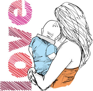 Sketch Of Mom And Baby