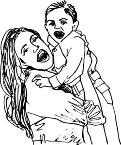 Sketch Of Mom And Child