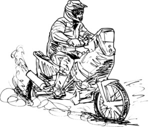 Sketch Of Motocross Bike Increase Speed In Track. Vector Illustration