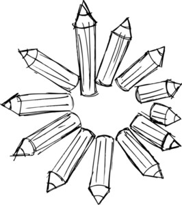 Sketch Of Pencils Arranged In A Circle. Vector Illustration
