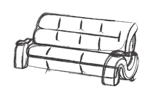 Sketch Of Retro Sofa