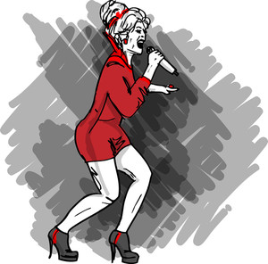 Sketch Of Sexy Woman Singing Into A Microphone. Vector Illustration