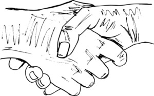 Sketch Of Shaking Hands. Vector Illustration
