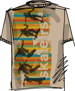 Sketch Of Skateboard Boy Tee. Vector Illustration
