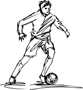 Sketch Of Soccer Player Kicking Ball. Vector Illustration
