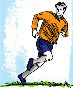 Sketch Of Soccer Player. Vector Illustration