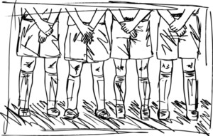 Sketch Of Soccer Players Preparing For Free Kick. Vector Illustration