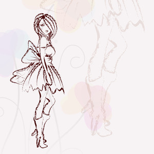 Sketch Of Stylish Young Girl On Abstract Background
