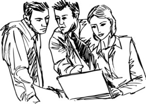 Sketch Of Successful Business People Working With Laptop At Office. Vector Illustration