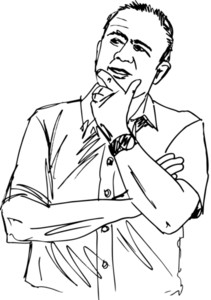 Sketch Of Thoughtful Mature Man. Vector Illustration