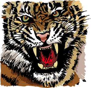 Sketch Of Tiger. Vector Illustration
