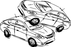 Sketch Of Two Cars In An Accident Isolated On A White Background. Vector Illustration