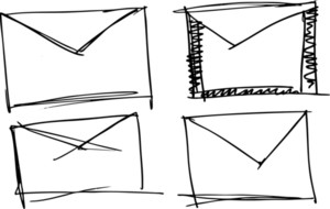 Sketch Of Vintage Air Mail Envelope Icon. Vector Illustration