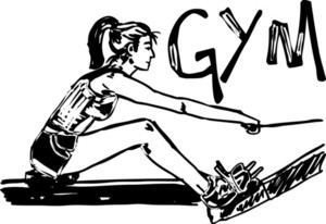 Sketch Of Woman Exercising On Machines At Gym - Health Club. Vector Illustration