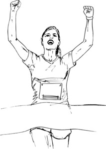 Sketch Of Woman Reaching The Finish Line In A Running Event. Vector Illustration