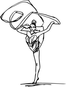 Sketch Of Woman Rhythmic Gymnastics Art Dancer. Vector Illustration