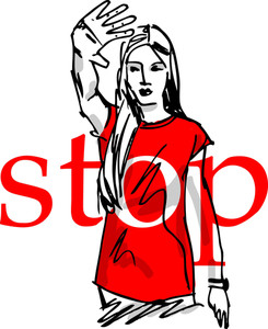 Sketch Of Woman Showing His Hand In Signal Of Stop. Vector Illustration