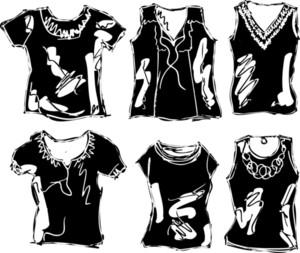 Sketch Of Women's T-shirt. Vector Illustration