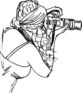 Sketch Of Young Beautiful Woman Taking A Photo With A Digital Camera. Vector Illustration