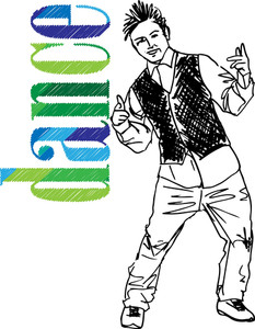 Sketch Of Young Man Dancing Hip-hop. Vector Illustration