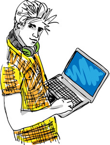 Sketch Of Young Man With Laptop. Vector Illustration