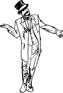 Sketch The Magician Waved His Hand In Greeting To The Side. Vector Illustration