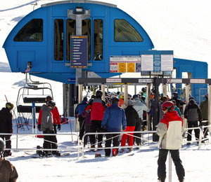 Skiers Rush For Ski Lift