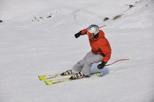 Skiing at winter season