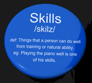 Skills Definition Button Showing Aptitude Ability And Competence