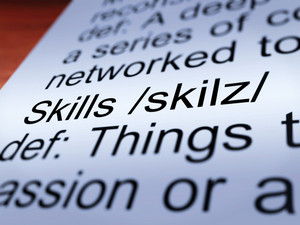 Skills Definition Closeup Showing Aptitude And Competence