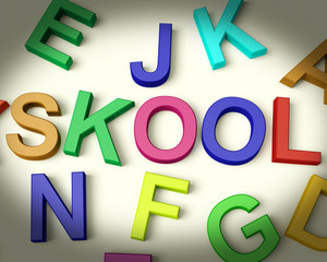Skool Written In Plastic Kids Letters