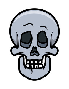 Skull Cartoon Tattoo - Vector Cartoon Illustration