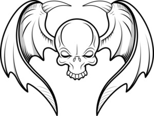 Skull Flying Tattoo Vector