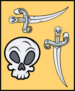 Skull Handled Sword For Pirates - Vector Cartoon Illustration