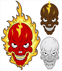Skull In Flames Vector Illustration