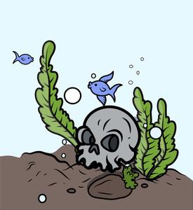 Skull In Sea Bottom - Vector Cartoon Illustration