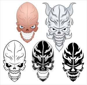 Skull Tattoo Vector Illustration Set