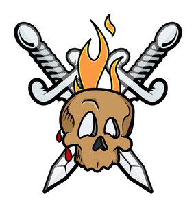 Skull Tattoo With Crossed Swords And Flame Vector Illustration