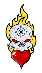 Skull Tattoo With Flame And Heart - Vector Cartoon Illustration