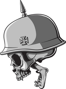 Skull Vector Element Wih Soldier Helmet