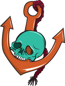 Skull Vector Element With Anchor