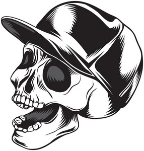 Skull Vector Element With Baseball Hat
