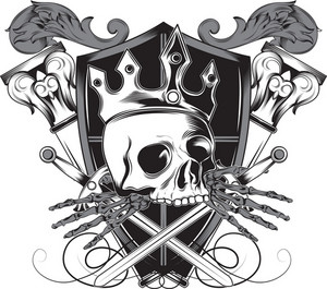 Skull Vector Element With Crown