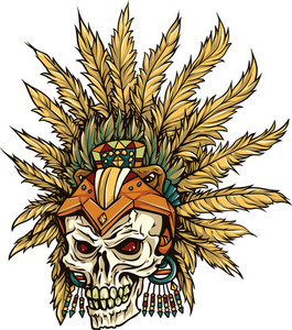 Skull Vector Element With Feathers