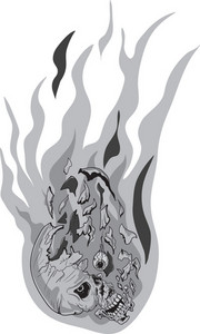 Skull Vector Element With Flames