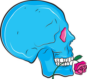 Skull Vector Element With Flower